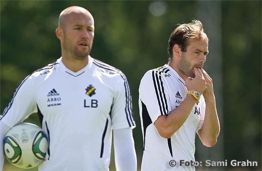AIK målvaktstränare Lee Baxter och chefstränare Andreas Alm