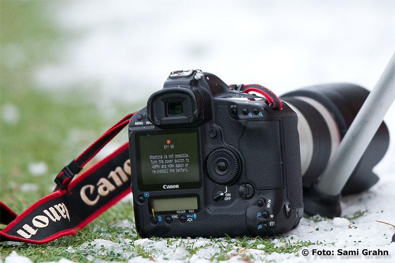 En kamera visar felmeddelande