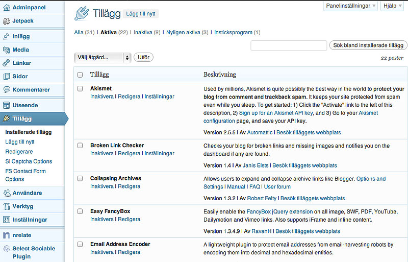 Pimpa din WordPress-blogg