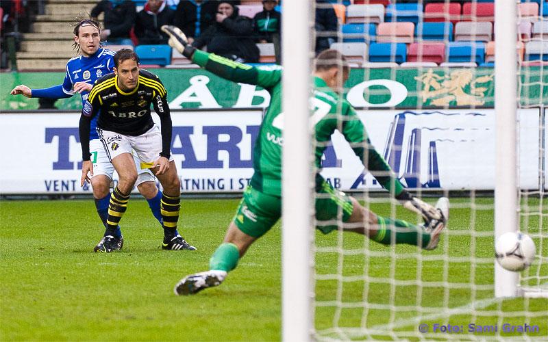 Fd AIK:aren i Sundsvall 23 Kevin Walker kvitterar med skott förbi AIK 2 Niklas Backman och 27 Ivan Turina