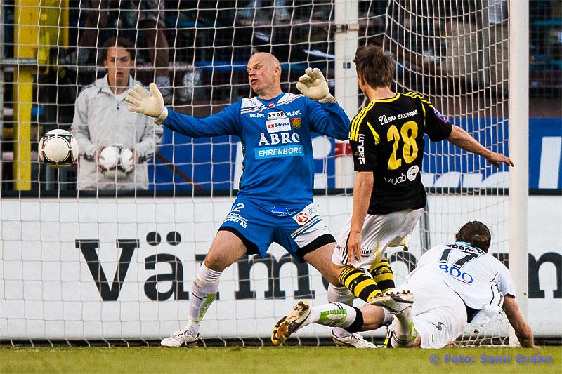 Mål av AIK 28 Viktor Lundberg bakom GAIS 32 Henri Sillanpää