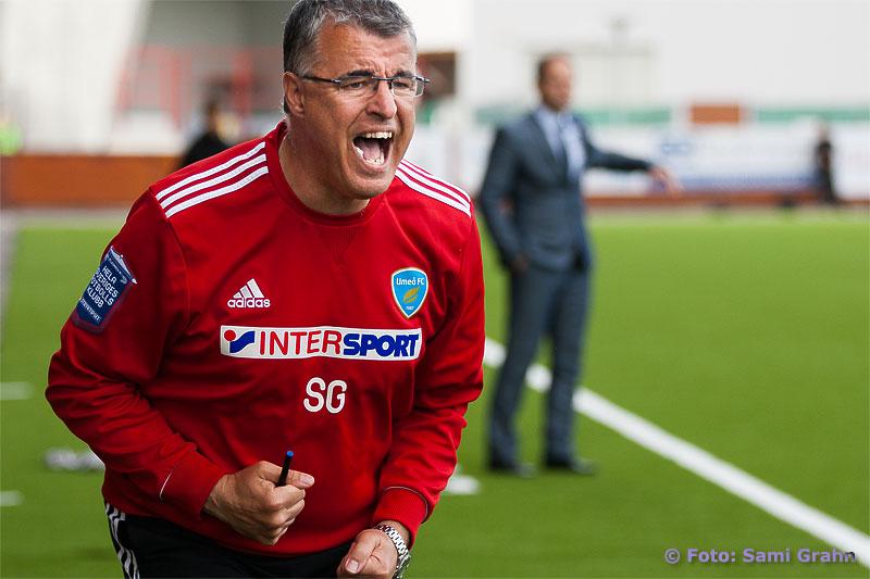 Umeå tränare Stuart Gibson hitom Assyriska dito Azrudin Valentic