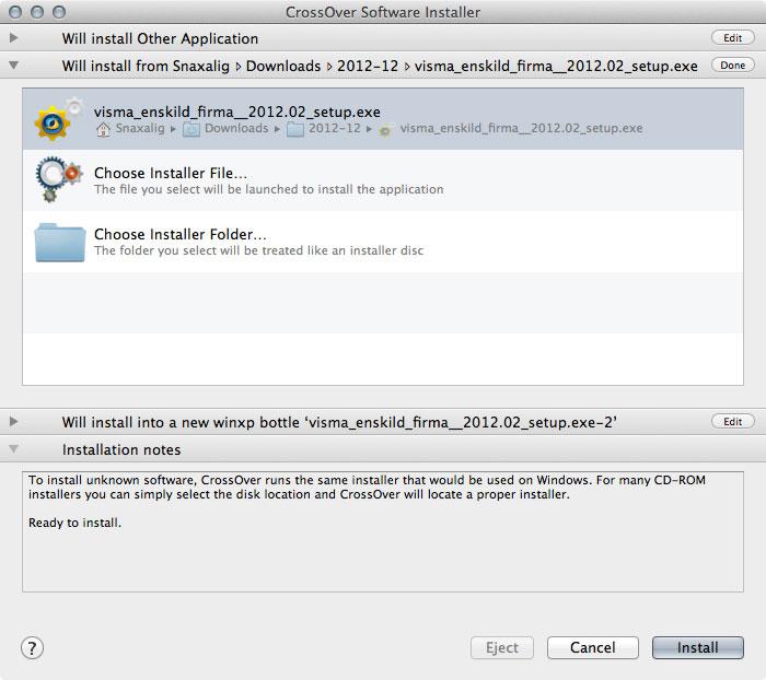 Installera Visma Enskild Firma på Mac med CrossOver