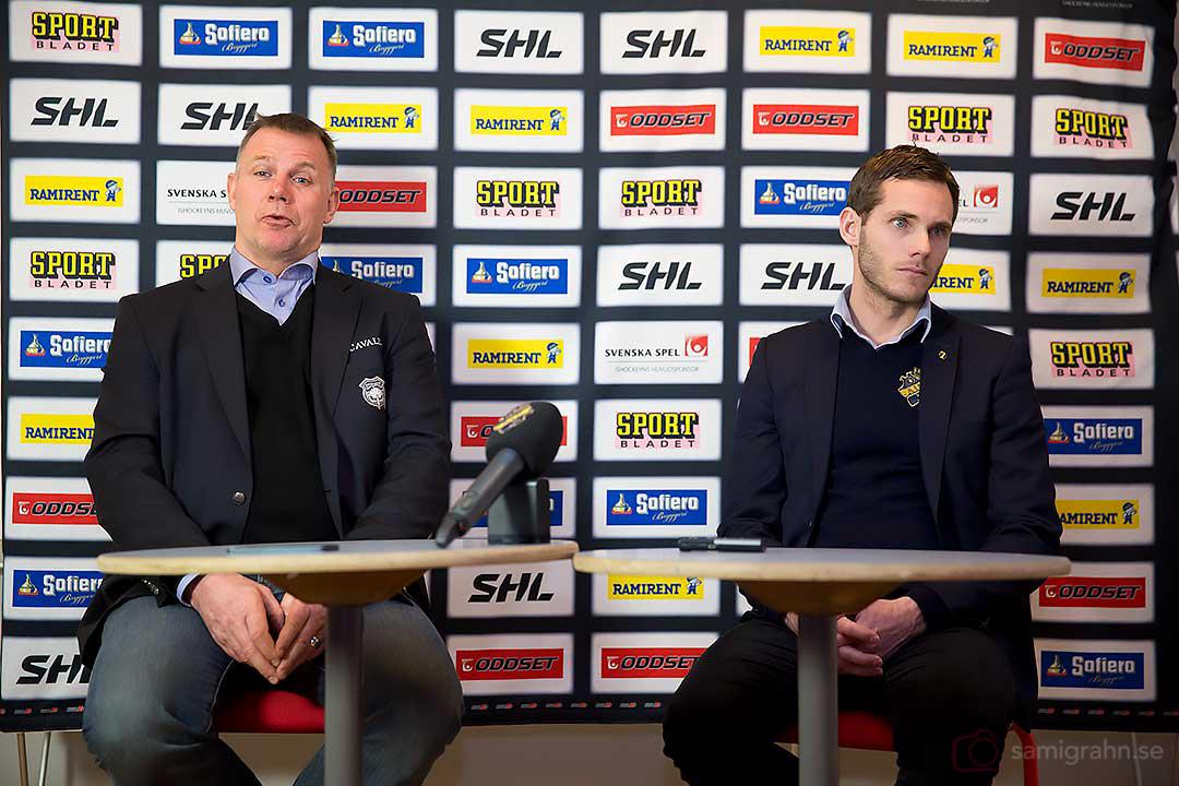 Presskonferens med Malmö tränare Mats Lusth och AIK Daniel Rudslätt