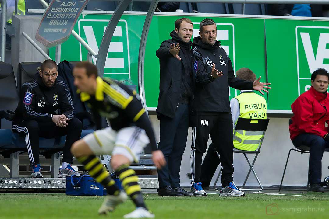 AIK tränare Andreas Alm och Nebojsa Novakovic