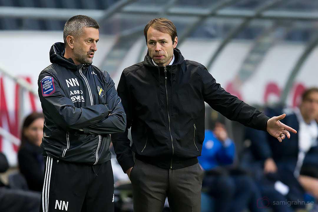 AIK tränare Nebojsa Novakovic och Andreas Alm