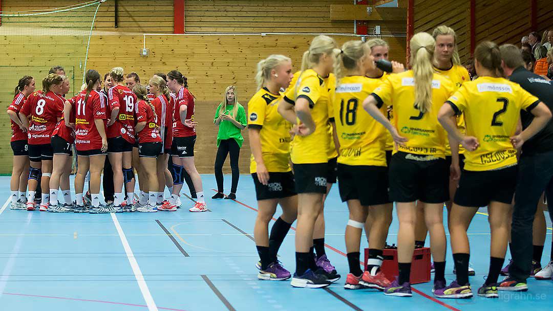 Skånela och Team Eslöv (närmast) under en timeout