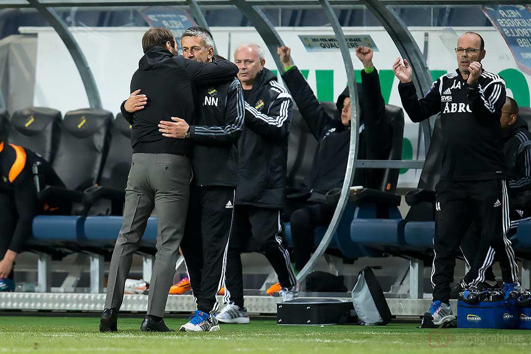 AIK Andreas Alm och Nebojsa Novakovic glada efter segern