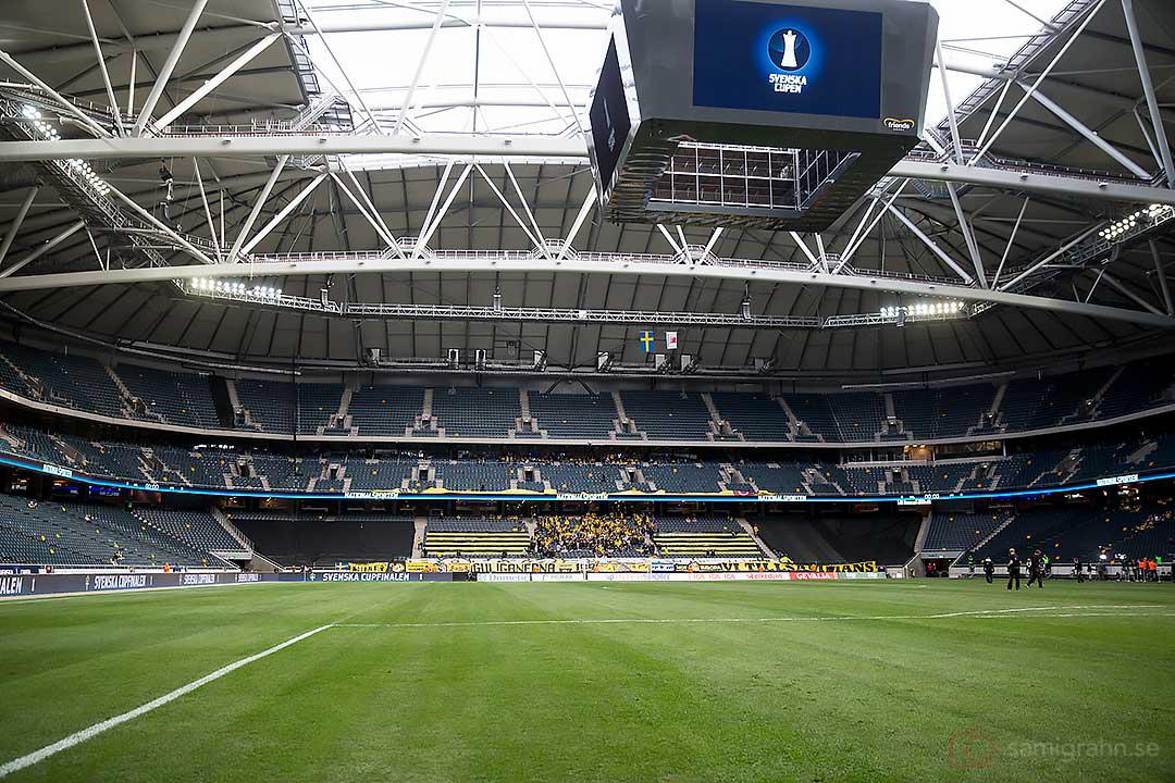 Ödsligt tomt på Nya Nationalarenan inför finalen i Svenska Cupen mellan Helsingborg och Elfsborg