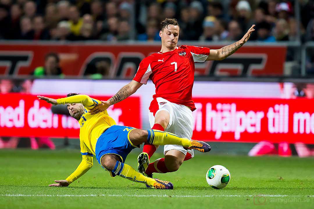 Sverige Jimmy Durmaz och Österrike Marko Arnautovic