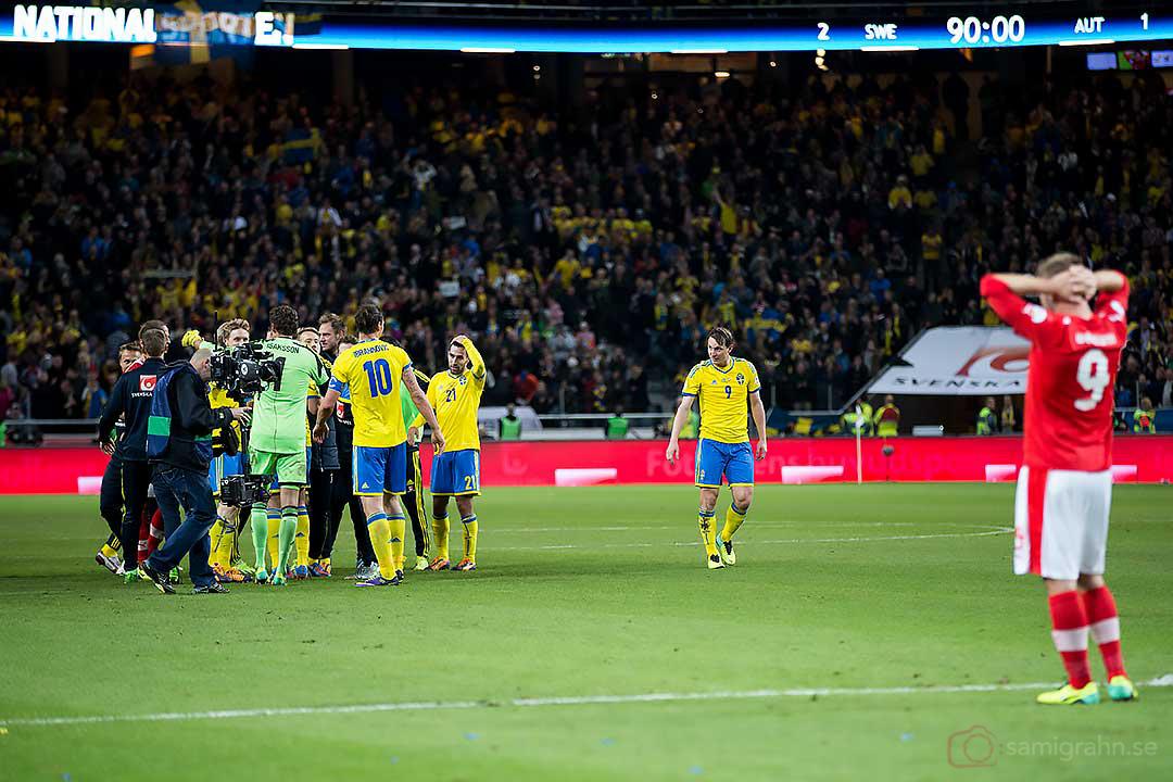 Sverige är klara för Play-Off till VM, Österrike Andreas Weimann deppar