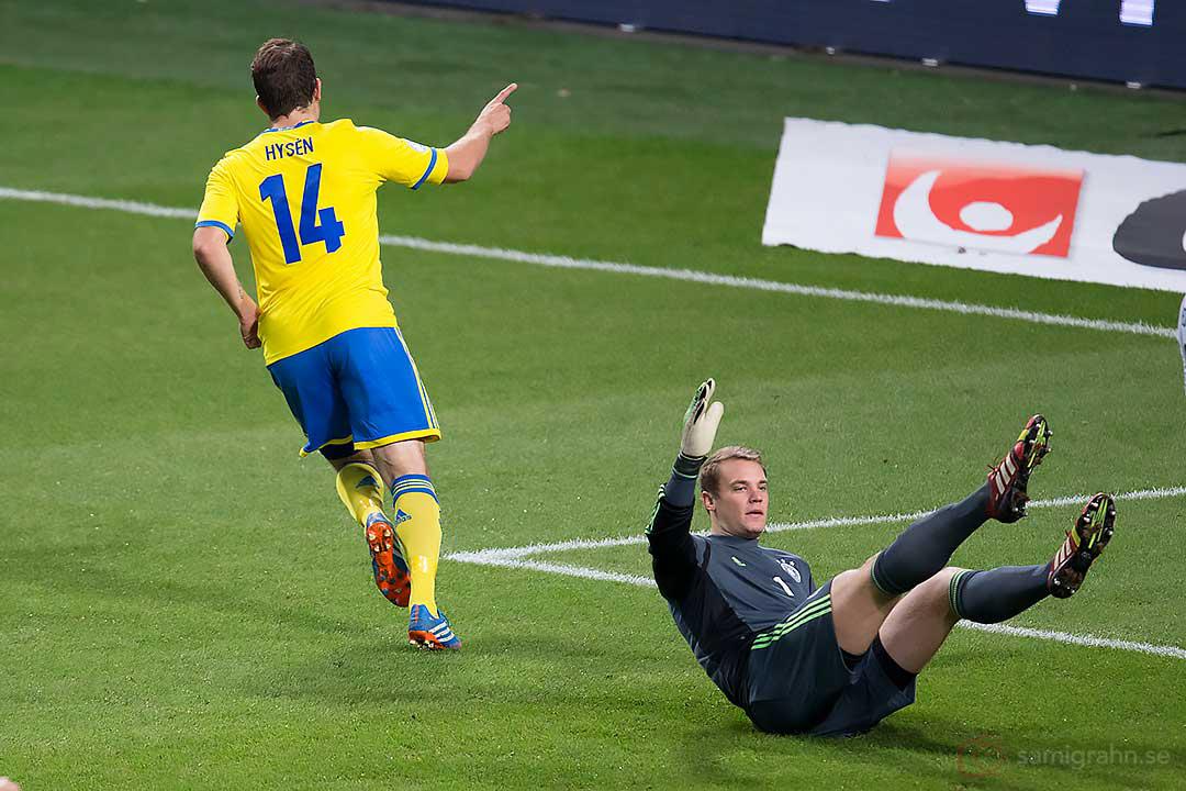 1-0 av Sverige Tobias Hysén bakom Tysklands målvakt Manuel Neuer