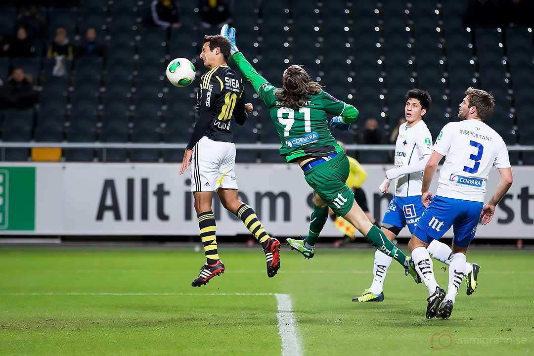 AIK Celso Borges nickar in bollen bakom en fumlande Norrköping-målvakt David Mitov Nilsson