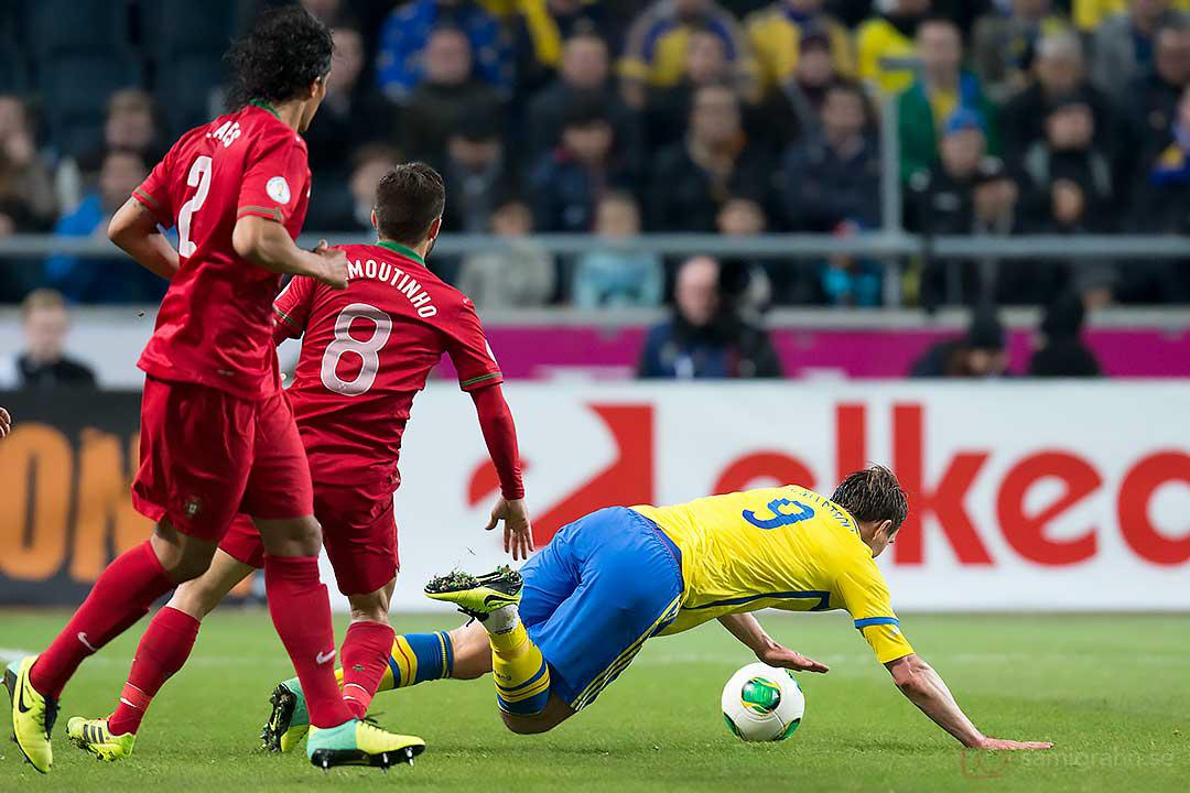 Portugal Bruna Alves och João Moutinho fäller Sverige Kim Källström