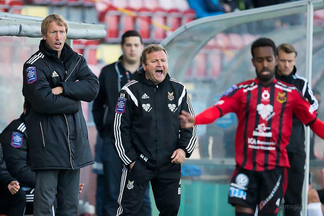 Östersund tränare Graham Potter och Billy Reid skriker på sina spelare