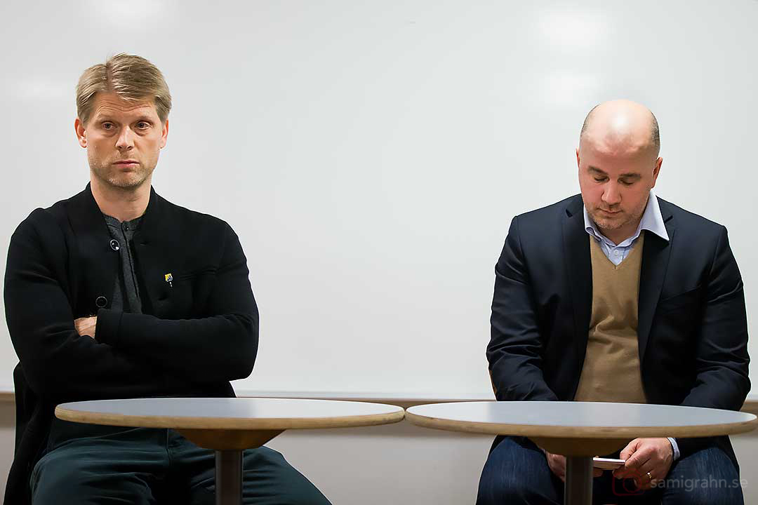 Södertälje ass tränare Per Nygårds och Djurgården ass tränare Stefan Nyman