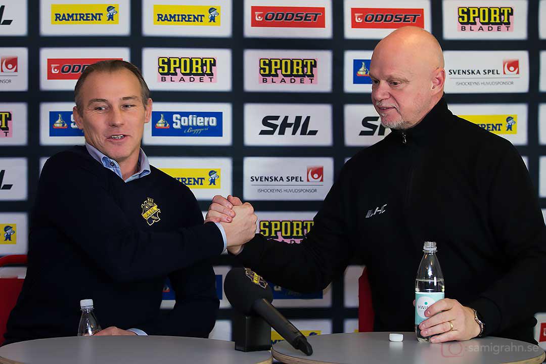 AIK tränare Rikard Franzén och Linköping tränare Roger Melin