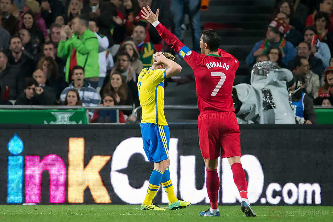 Sverige Sebastian Larsson och Portugal Cristiano Ronaldo