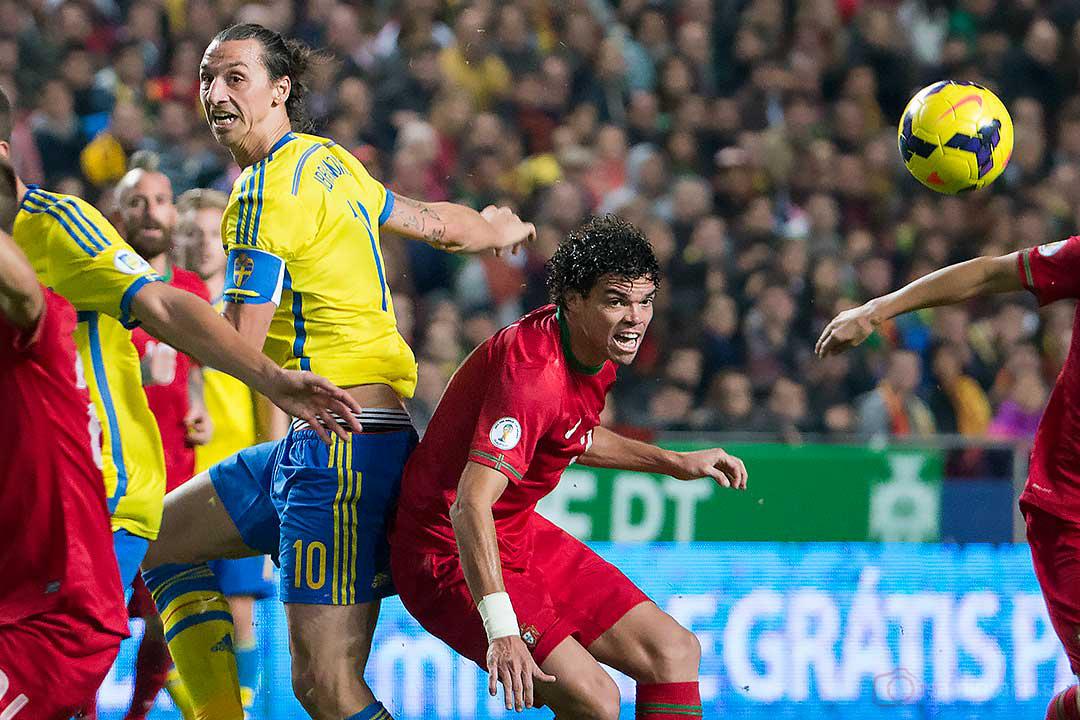 Sverige Zlatan Ibrahimović och Portugal Pepe