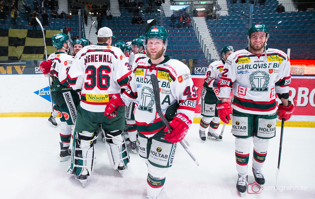 Tingsryds AIF jublar efter avancemang till HockeyAllsvenskan efter en poäng i mötet mot AIK