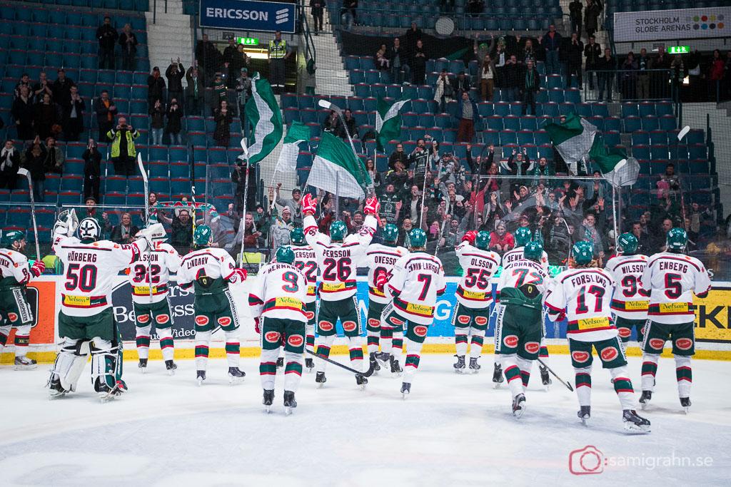Tingsryds AIF  jublar med sina fans efter avancemang till HockeyAllsvenskan